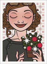 Lily Lux Passbild mit einem kleinen Adventsgesteck aus Tannenzweigen und bunten Kugeln