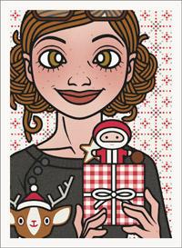 Lily Lux Passbild mit Weihnachtsgeschenk, Nikolaus und weihnachtlich dekorierten kleinen Rehen mit Mütze
