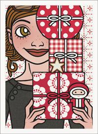 Lily Lux Passbild mit einem Stapel Weihnachtsgeschenke