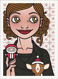 Lily Lux Passbild mit Nikolaus und Reh mit Weihnachtsmütze