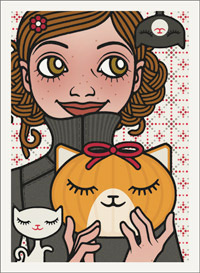 Lily Lux Passbild mit einem geschnitzten Kürbis als Katzenkopf