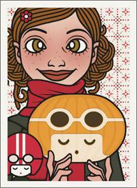 Lily Lux Passbild mit einem Kürbiskopf, der aussieht wie ein Mädchen mit Motorradhelm