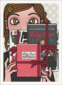 Lily Lux Passbild mit Büchern Die wunderbare Welt der Lily Lux und Lily Lux Notizbuch sowie den Kühlschrankmagenten