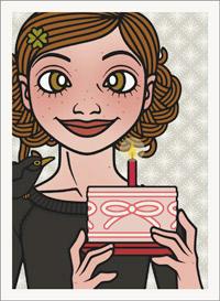 Lily Lux Passbild mit einem kleinen Törtchen mit Kerze zum Feiern