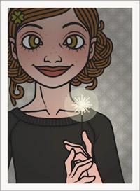 Lily Lux Passbild mit brennender Wunderkerze